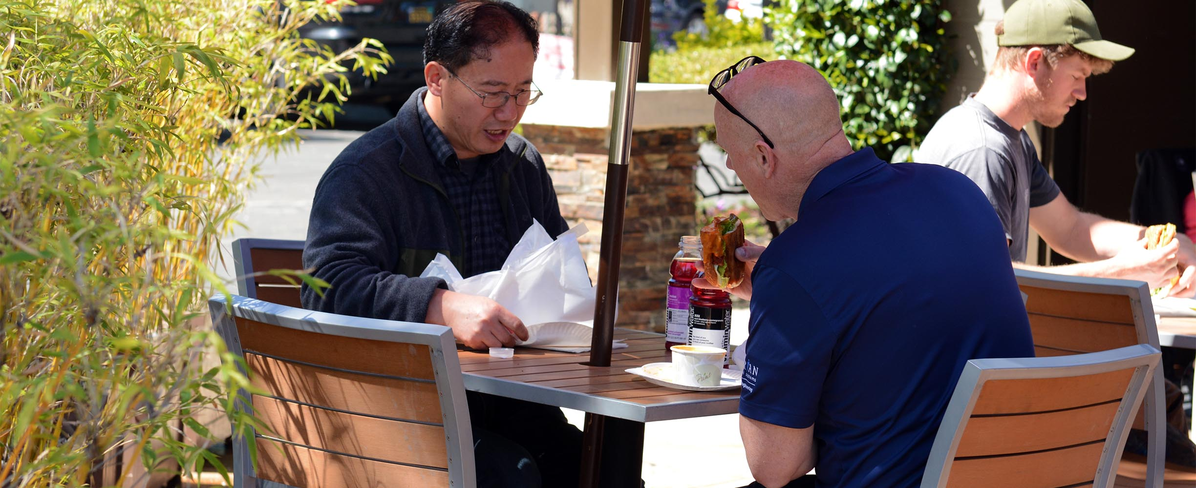 Our clients love the patio sitting to enjoy their sandwiches in Palo Alto